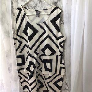 Dots Diamond Geometric Sleeveless Dress  (3X)